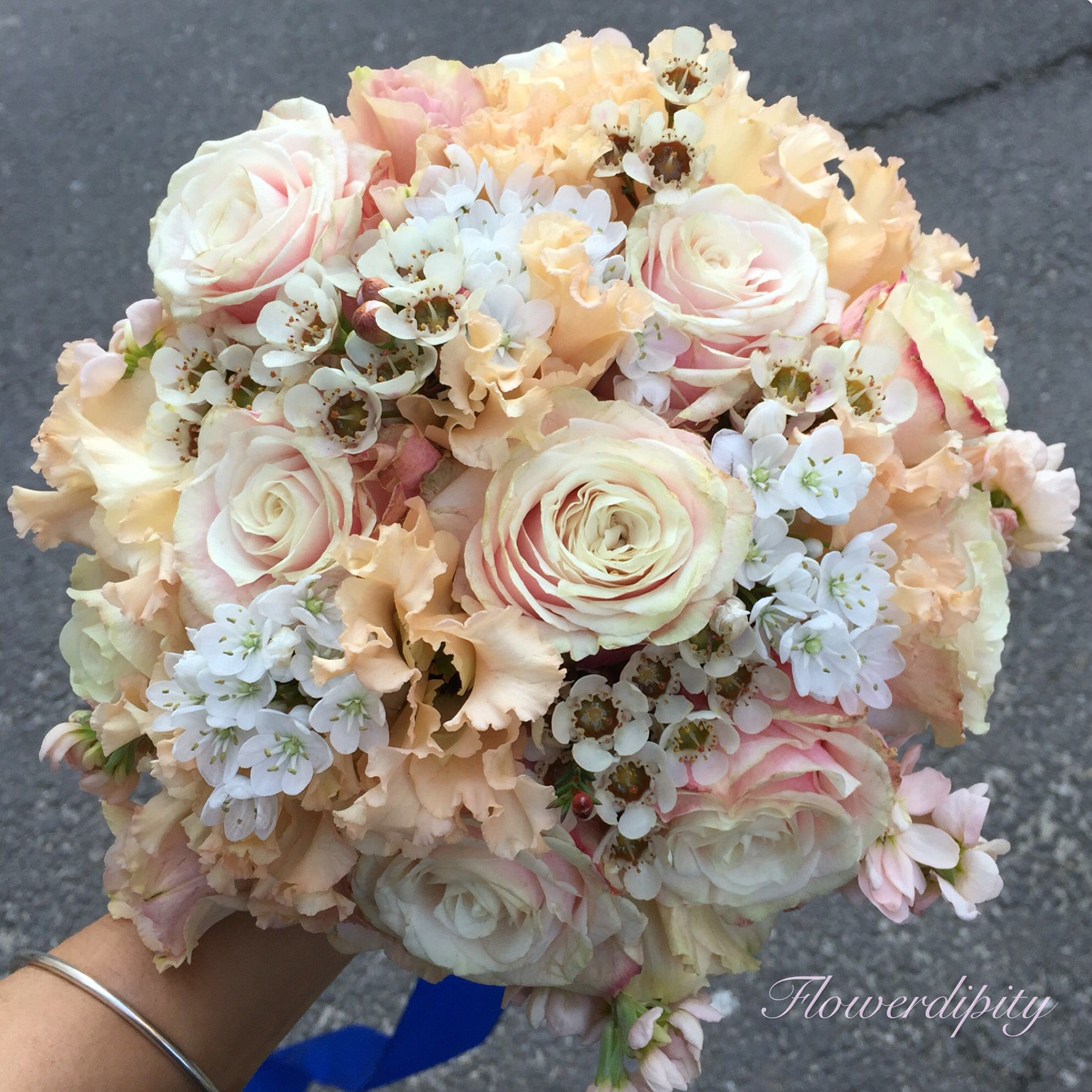 Natural Flowers Embroidery Bride Bouquet Salmon Roses Elegant