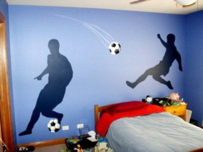 Teenage Boys Bedroom Paint Ideas | Soccer Murals Kids Inspirations    Wallpaper Murals Inspirations