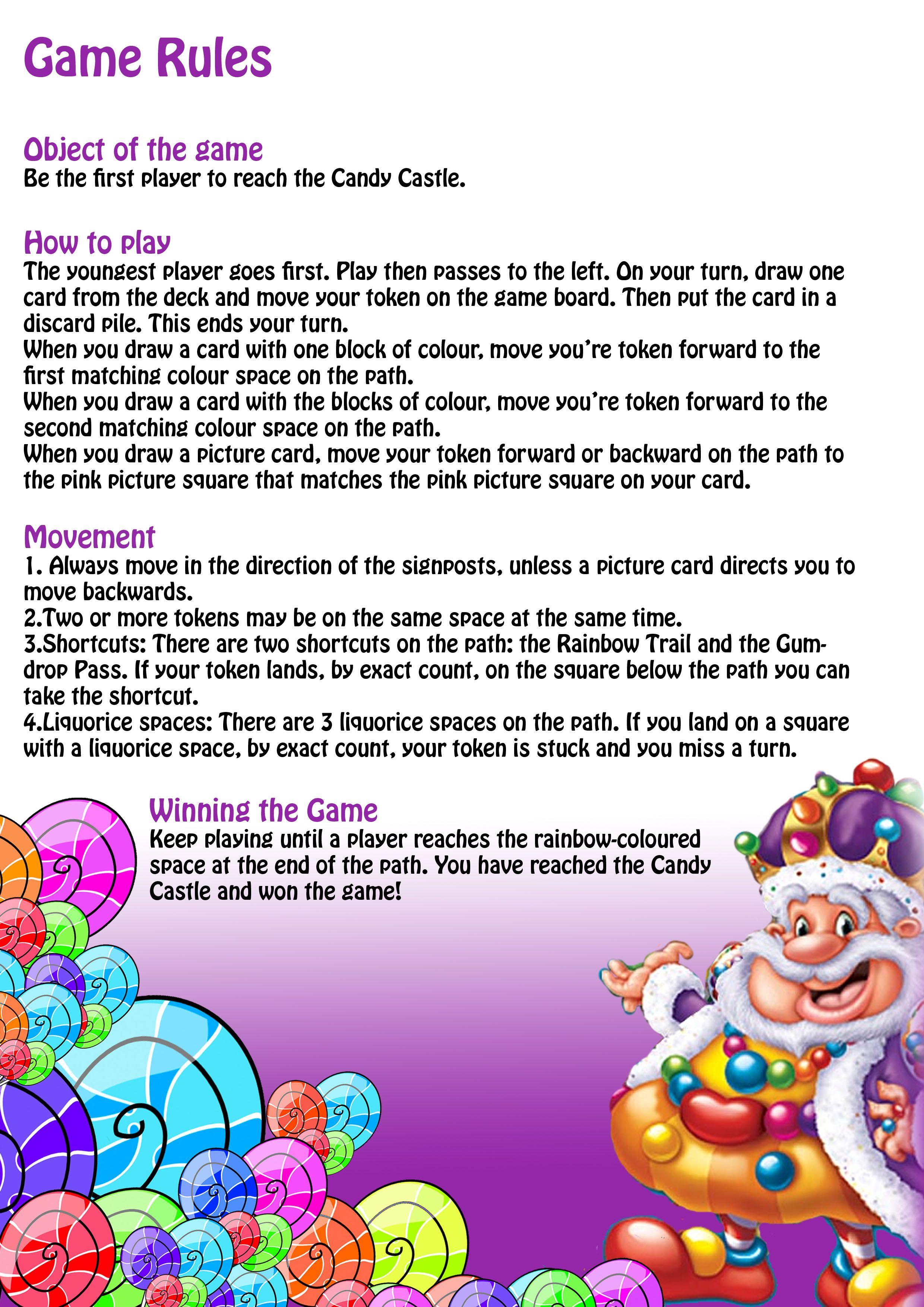 gamerules.jpg (2480×3508) Candyland, Candyland party