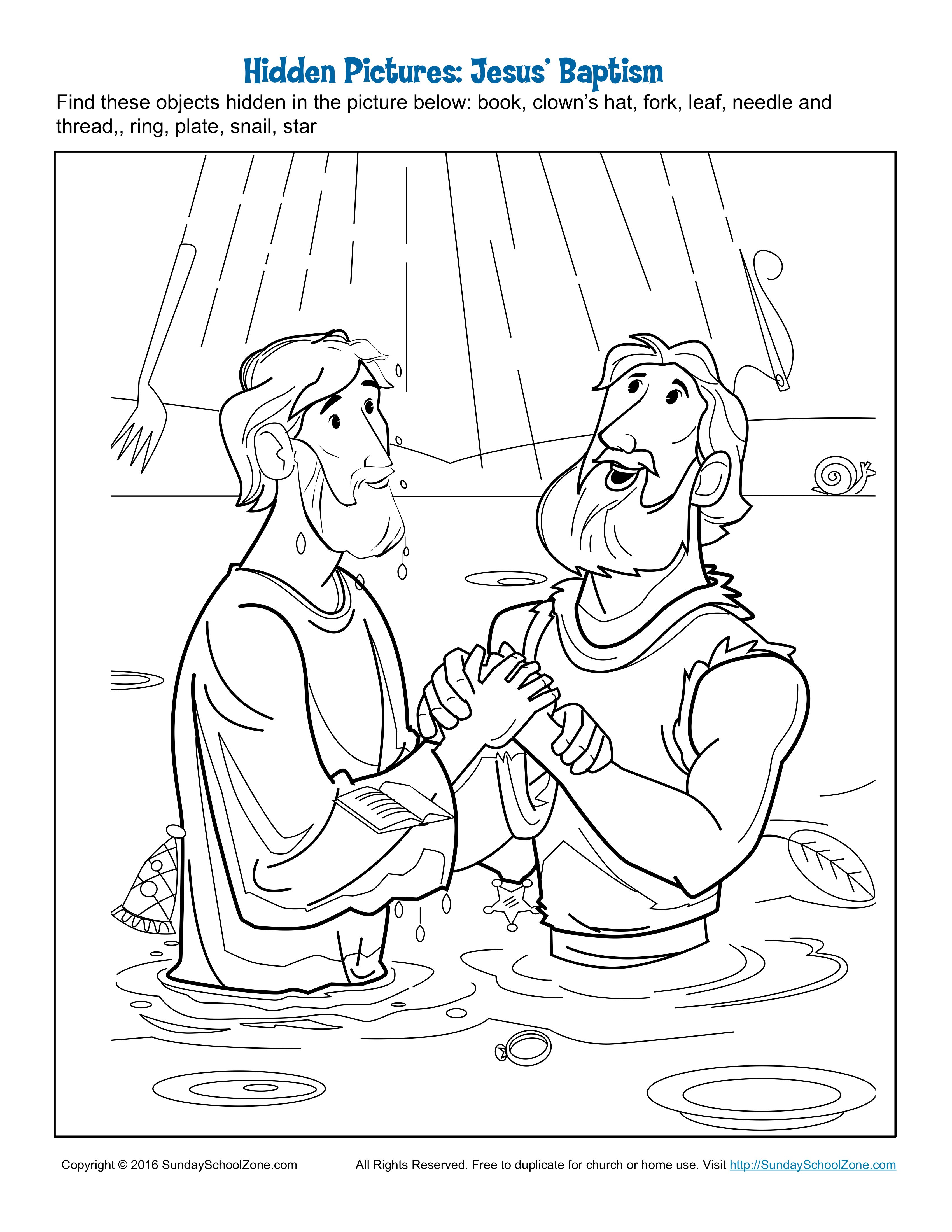 Jesus Baptism Hidden Pictures Sunday School Coloring Pages