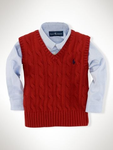 91e2a0d735ad Ralph Lauren Infant Boy Classic Cable Vest in Martin Red