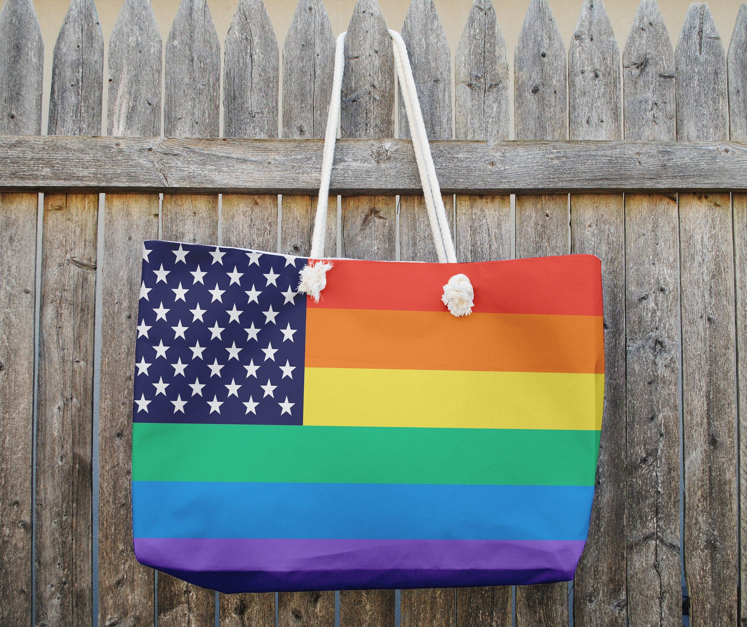 Photo of LGBT FLAG Weekender Tote Bag By Kavka Designs – 25in x 33in