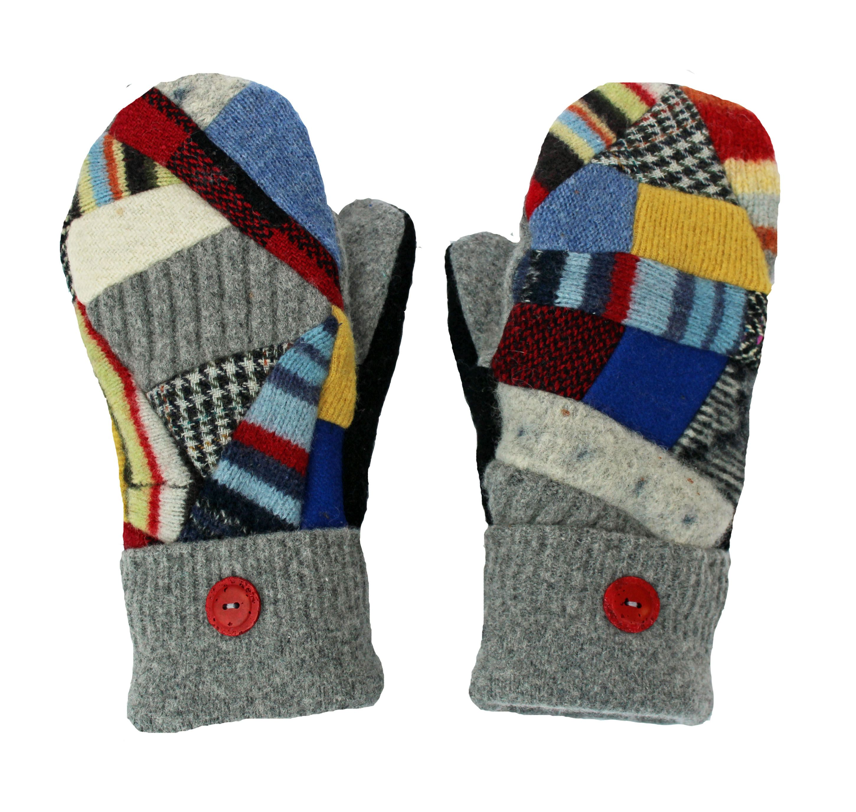 Sweaty Mitts Wool Patchwork Mittens Recycled Sweater Mitts Red