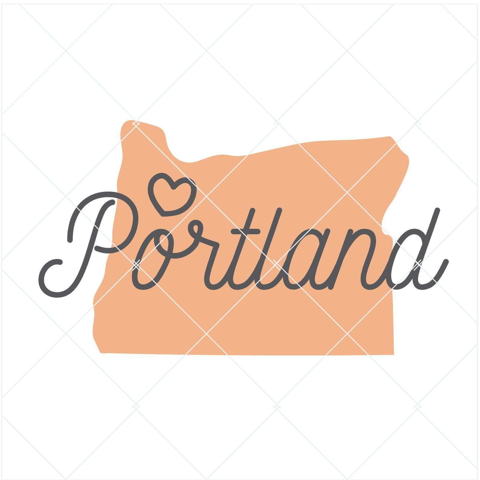 Portland Oregon SVG State love Shape City Word Art