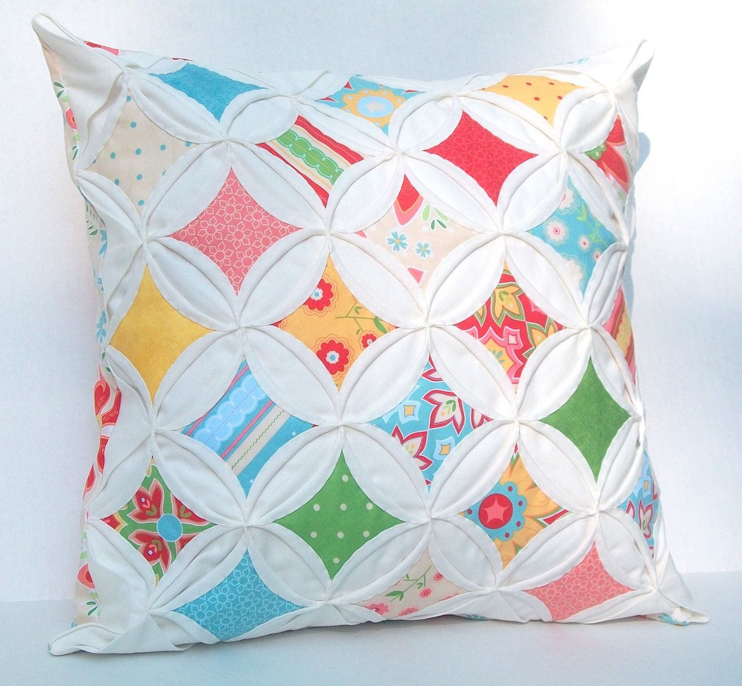 Decorative Pillow Cover Cathedral Window Red Green Aqua Yellow Riley Blake 18 Inch Cathedral ...