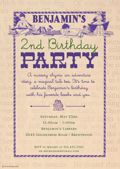 Book Party Invitation Baby Shower Birthday Any Occasion By Bnute