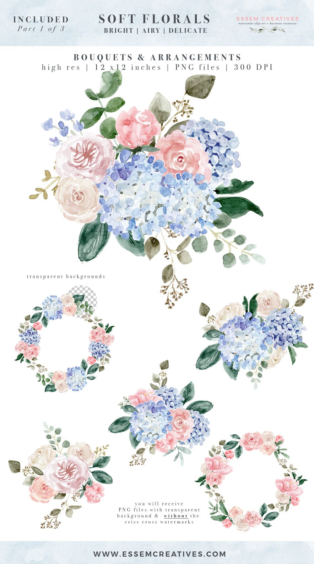delicate Baby/'s Breath; hand painted; wedding resources; watercolor clipart digital download soft Watercolor floral wreath