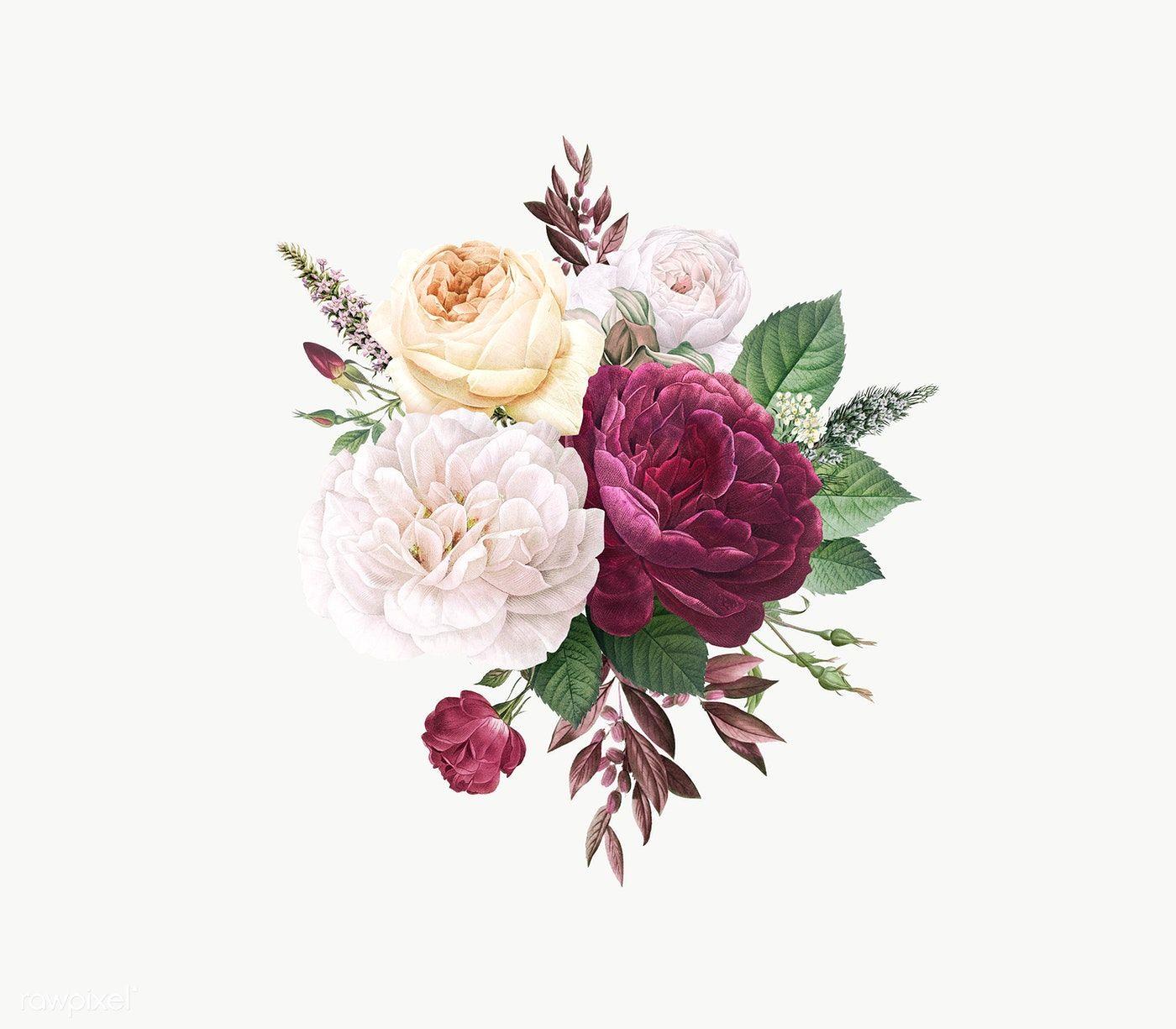 Download Premium Png Of Vintage Colorful Flowers Design Transparent Png Flower Design Vector Flower Illustration Floral Watercolor