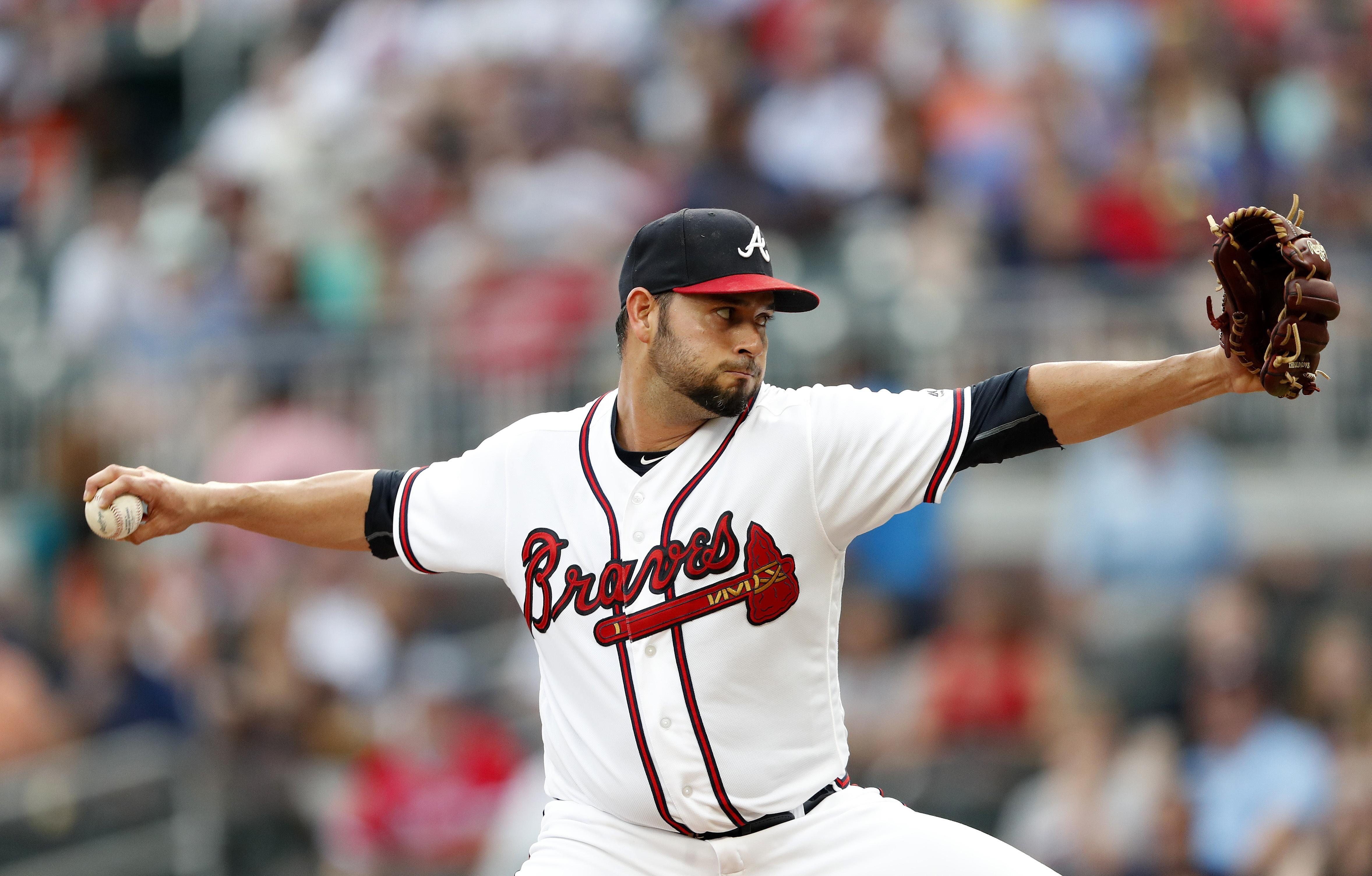 Atlanta Braves starting pitcher Anibal Sanchez works in