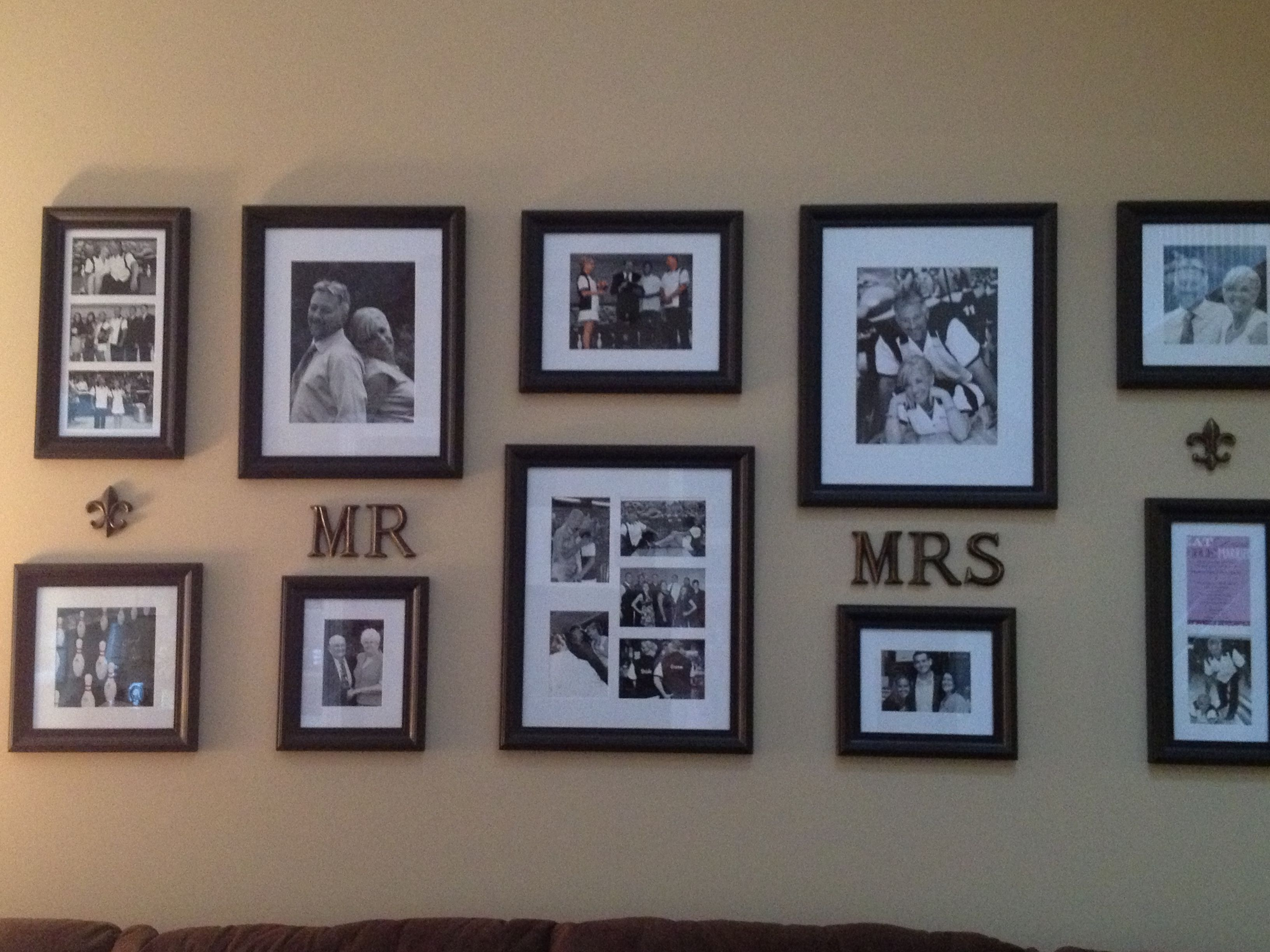 Photo wall of our Wedding pics. Kohl\'s frames and Hobby Lobby ...