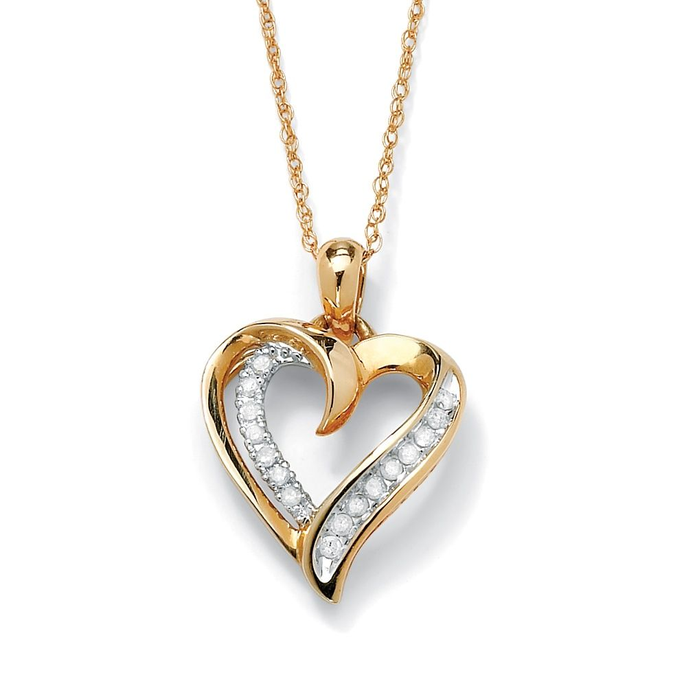 1 10 Tcw Round Diamond Heart Pendant Necklace In 10k Gold On Palmbeach Jewelry Heart Pendant Diamond Diamond Heart Pendant Necklace Heart Pendant Gold