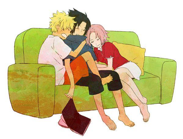 Naruto - Fanart -Sakura Sasuke Naruto they fell asleep Team 7 - team 7 k che