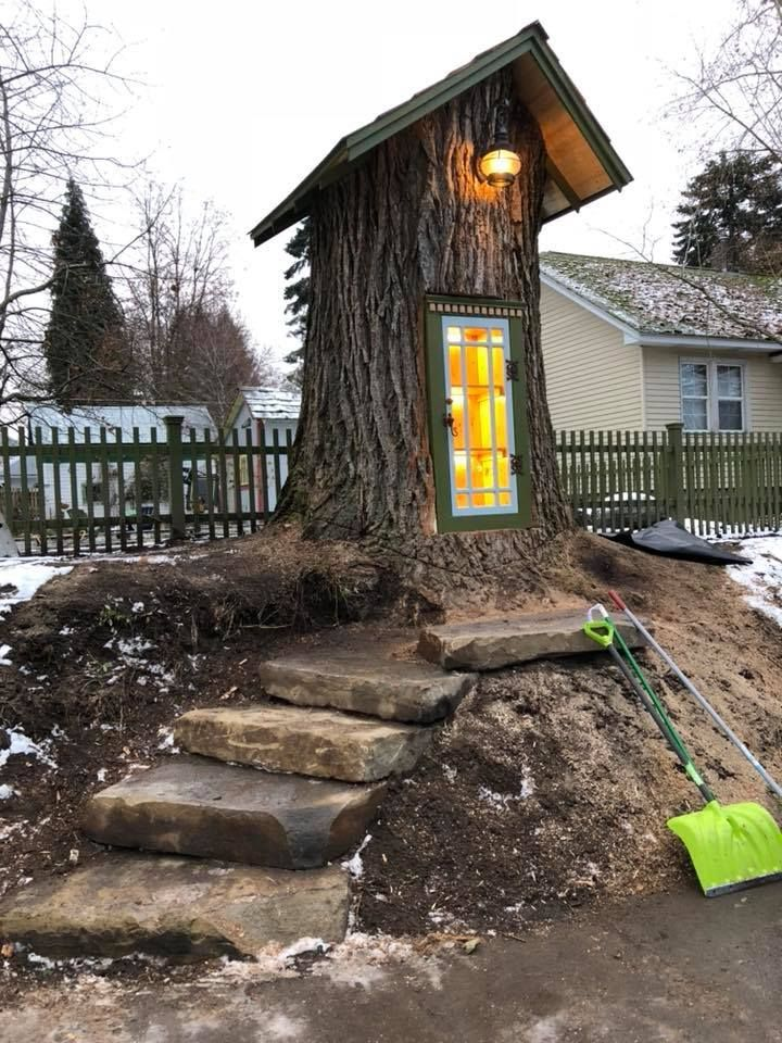 Best Woman Carves Magical Little Free Library Out Of 110 Year 400 x 300