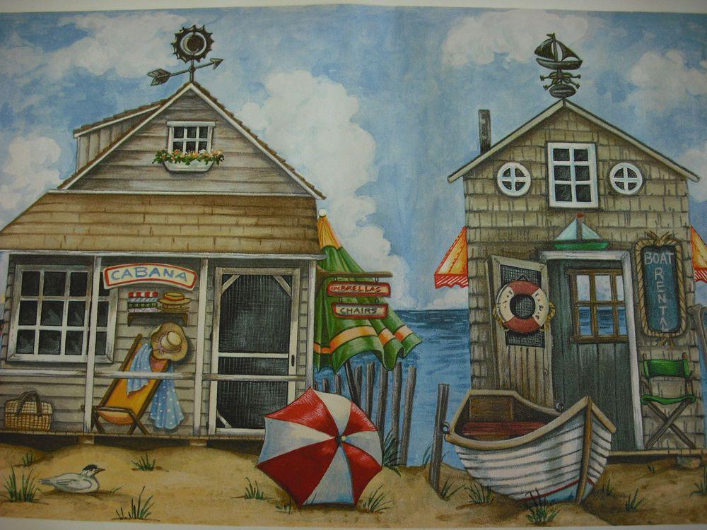 BEACH OCEAN CABANA Wallpaper Border VILLAGE Wallpaper