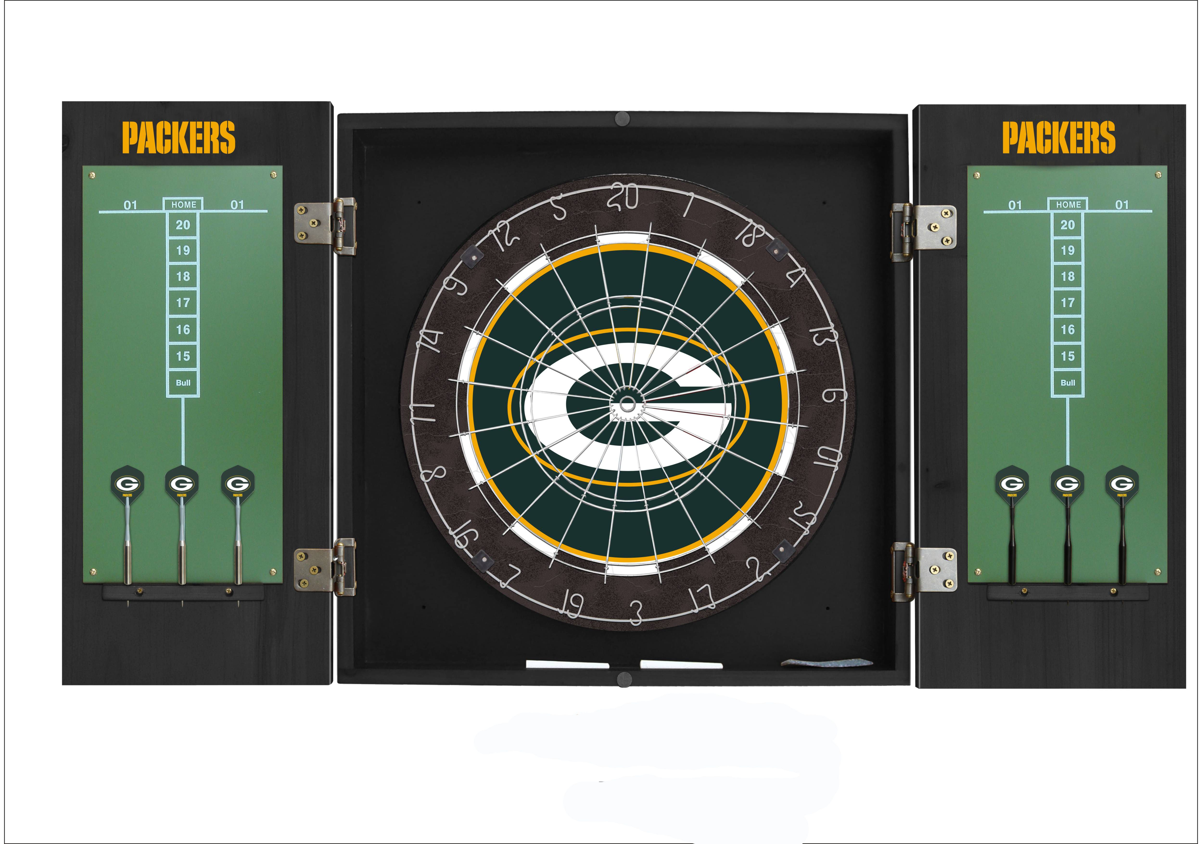 Score A Bullseye With The Green Bay Packers Dart Board W Black Gloss Cabinet New York Yankees Yankees Green Bay Packers
