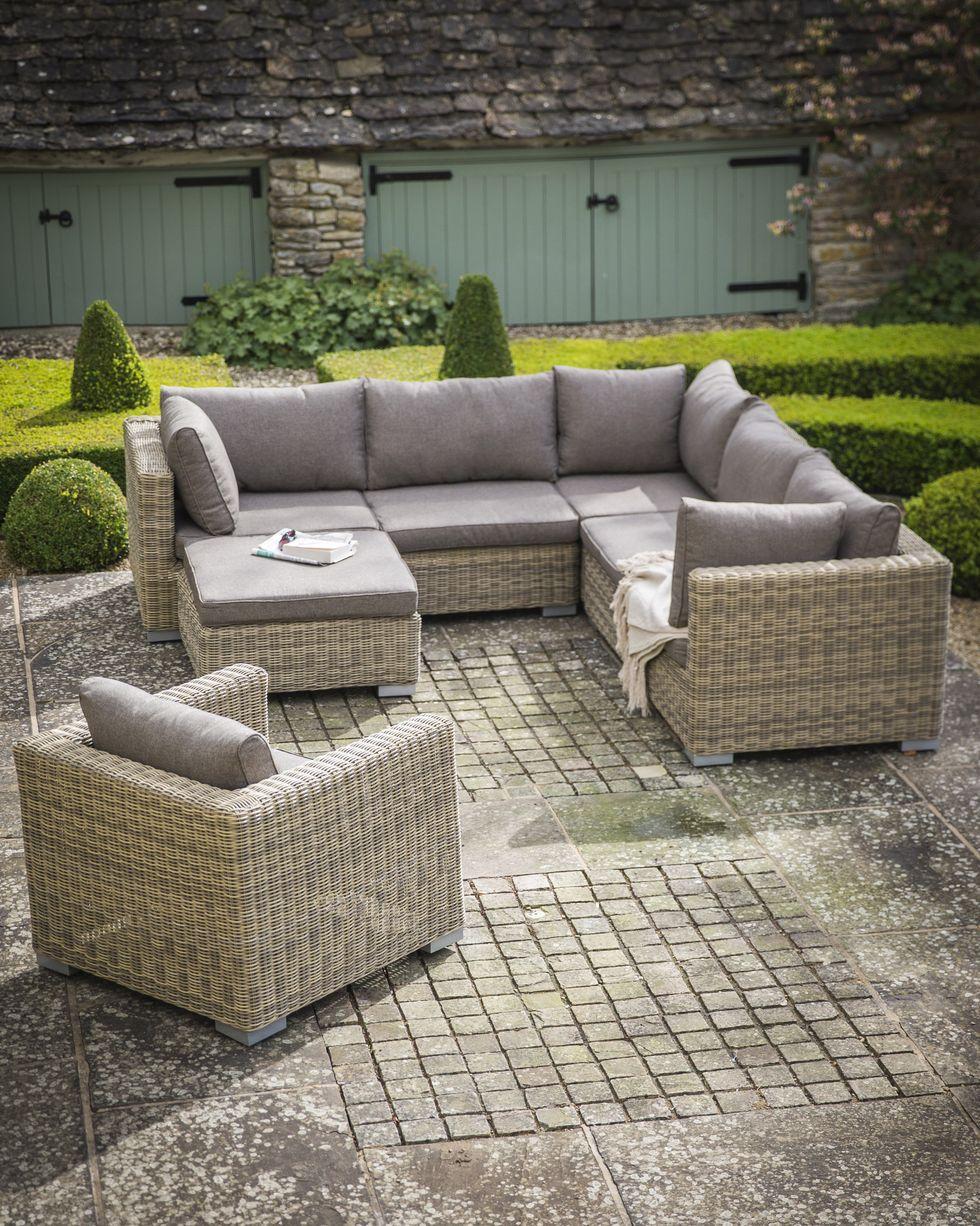 12 Garden Furniture Sets Perfect For Outdoor Entertaining In 2020 Garden Sofa Set Garden Sofa Rattan Garden Furniture