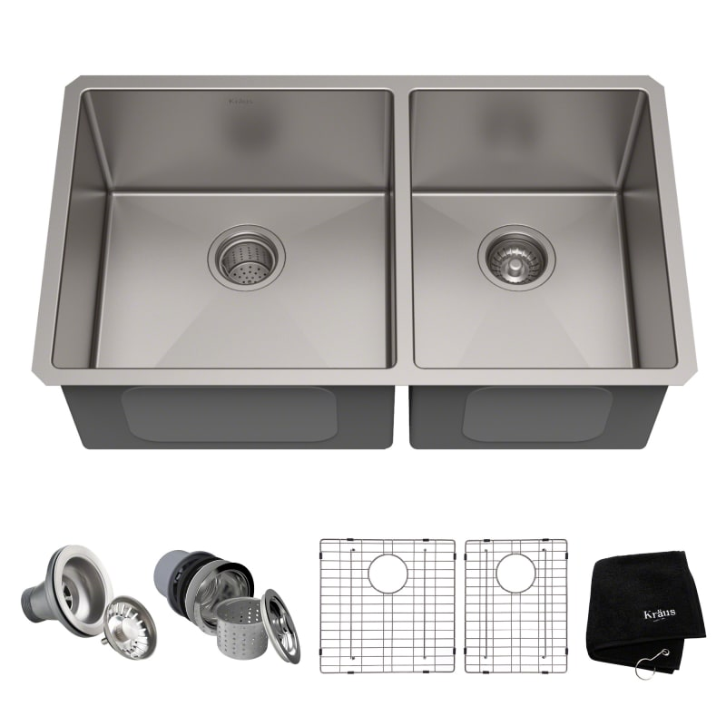 Kraus Khu103 33 32 3 4 Double Basin Stainless Steel Kitchen Sink
