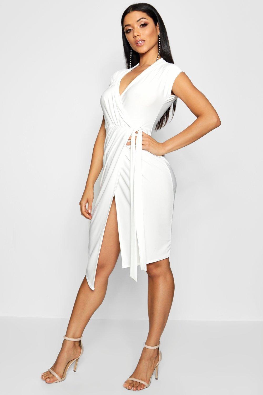 Wrap Front Midi Dress Dresses Little White Dresses Bodycon Fashion [ 1500 x 1000 Pixel ]