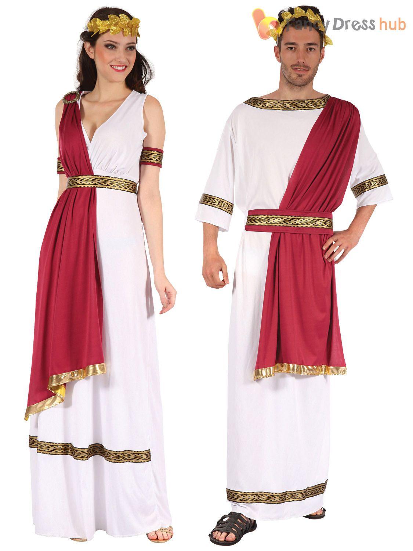 Mens Ladies Roman God Goddess Toga Caesar Venus Fancy Dress Costume Couples