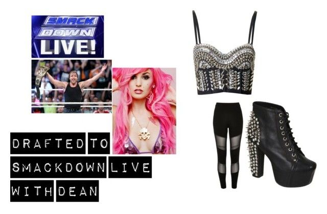 """Drafted to SmackDown Live with Dean"" by nicmichelle ❤ liked on Polyvore featuring Julio, WWE, Topshop, River Island, Jeffrey Campbell and DeanAmbrose"