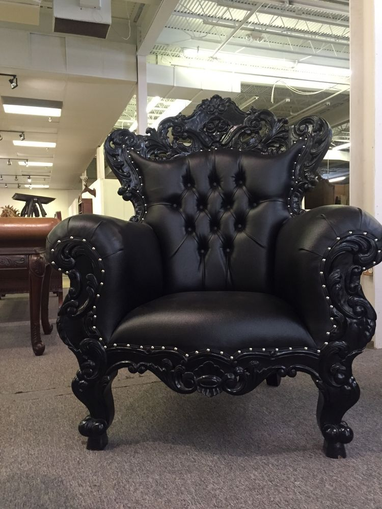 Black Gothic Ornate Mahogany French Baroque Rococo King