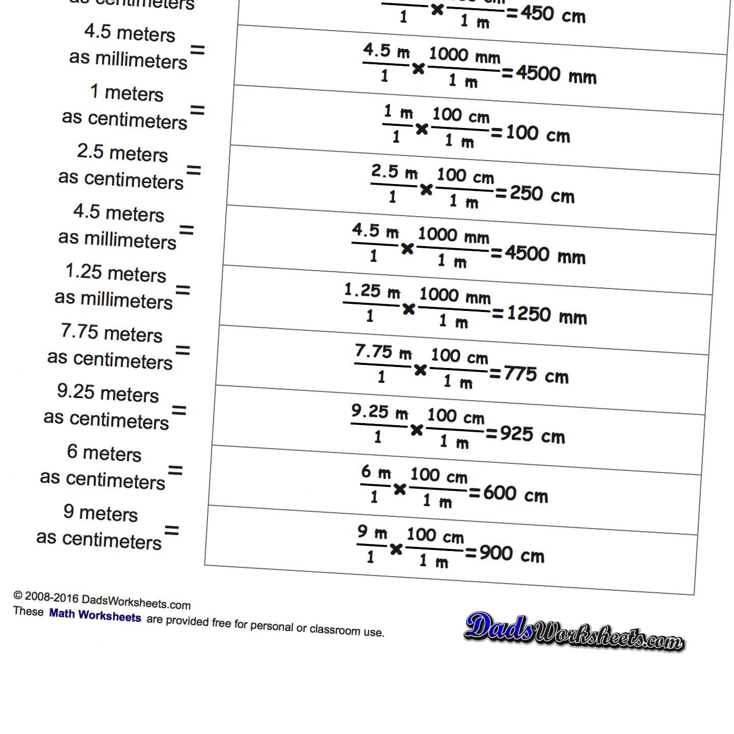 Metric SI Unit Conversions This page contains links to free math – Unit Conversion Worksheet Answers
