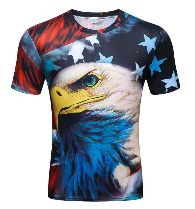 2018 new listing Cool T-shirt Men/Women 3d Tshirt Print Wolf/flag eagle/ clown Short Sleeve Summer Tops Tees T shirt Fashion   Tops & Tees    Pinterest ...