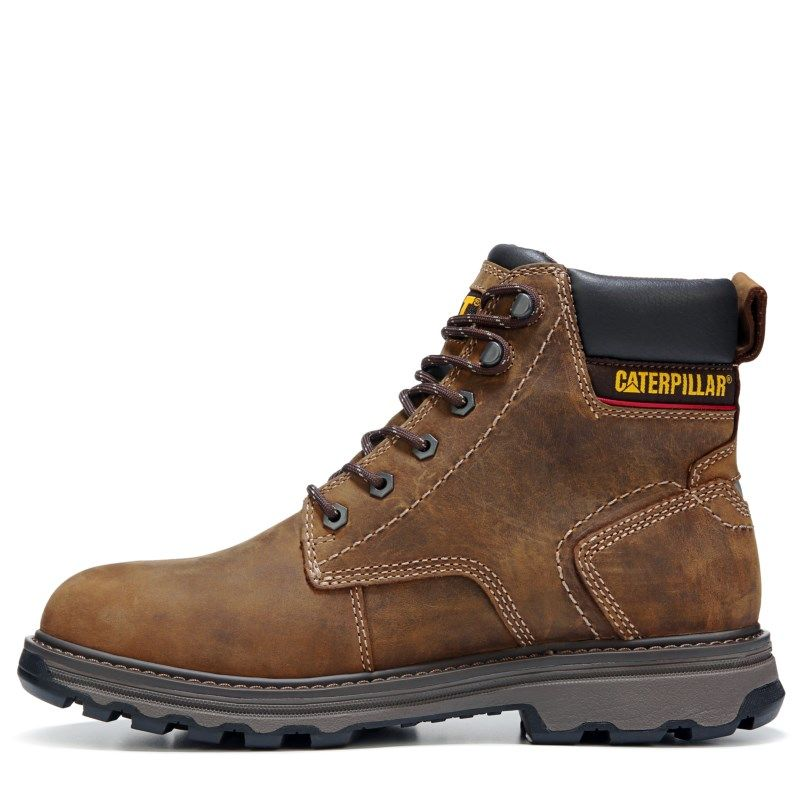 Mens Caterpillar Precision MediumWide Waterproof Work Boot Dark Brown Leather