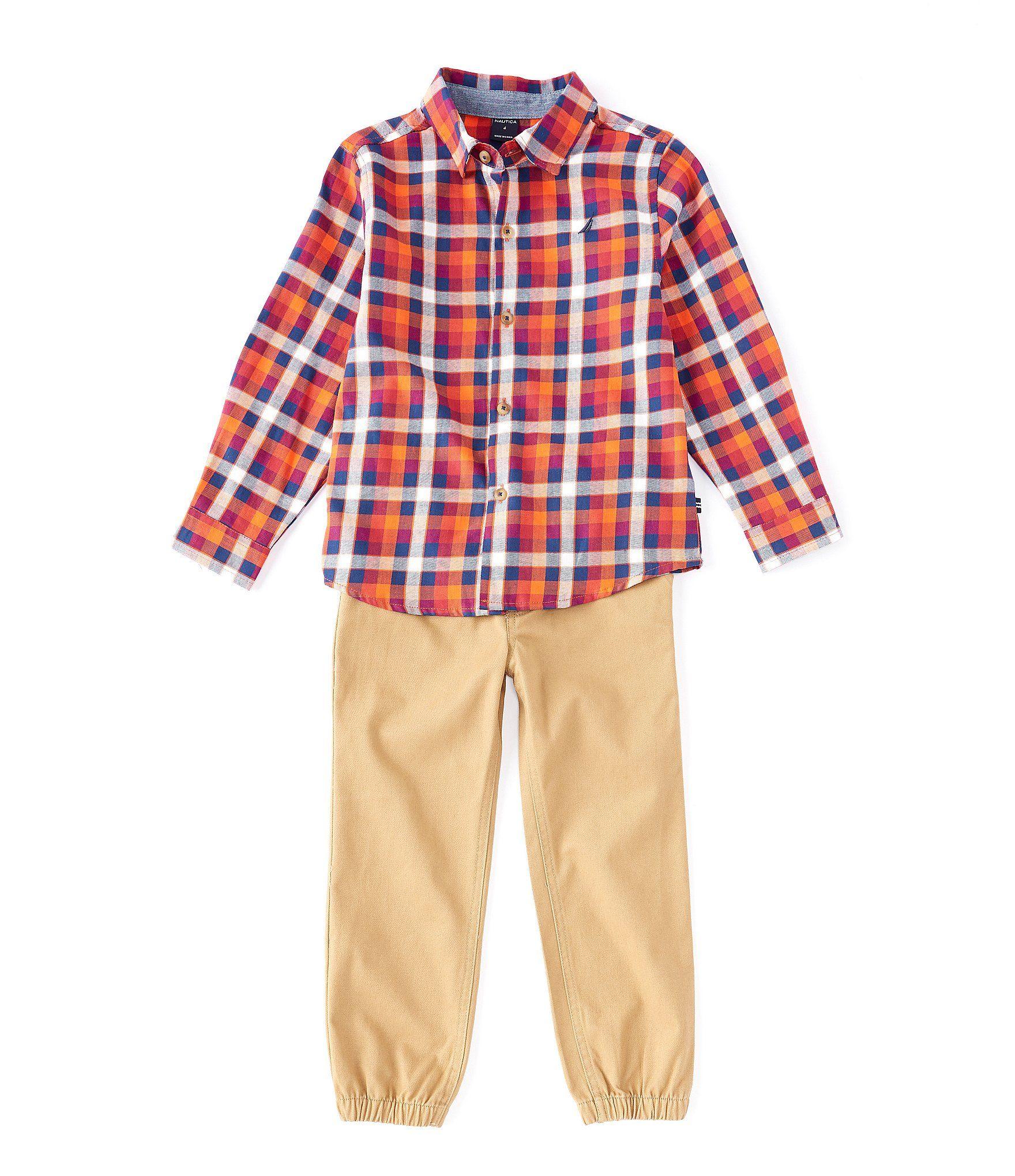 Nautica Boy/'s 8-20 Shirt Woven Button-down Long Sleeve