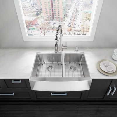 Vigo 36 Inch Farmhouse Apron 60 40 Double Bowl 16 Gauge Stainless Steel Kitchen Sink With Two Grids And Two Strainers Apron Sink Kitchen Apron Front Kitchen Sink Farmhouse Sink Kitchen