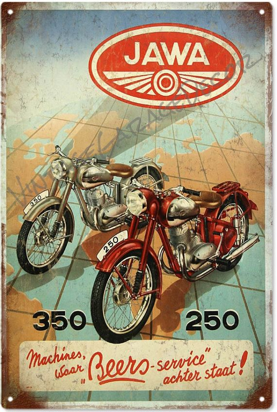 Vintage Style Jawa 250 350 Motorcycles Advertising Metal Sign 25 00 Vintage Motorcycle Posters Motorcycle Posters Classic Motorcycles