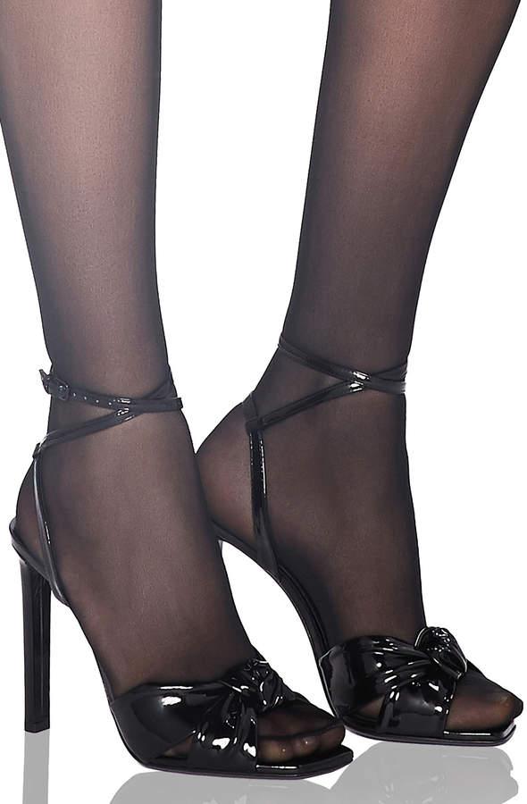 Saint Laurent Patent Amy Ankle Strap Sandals in Black | FWRD