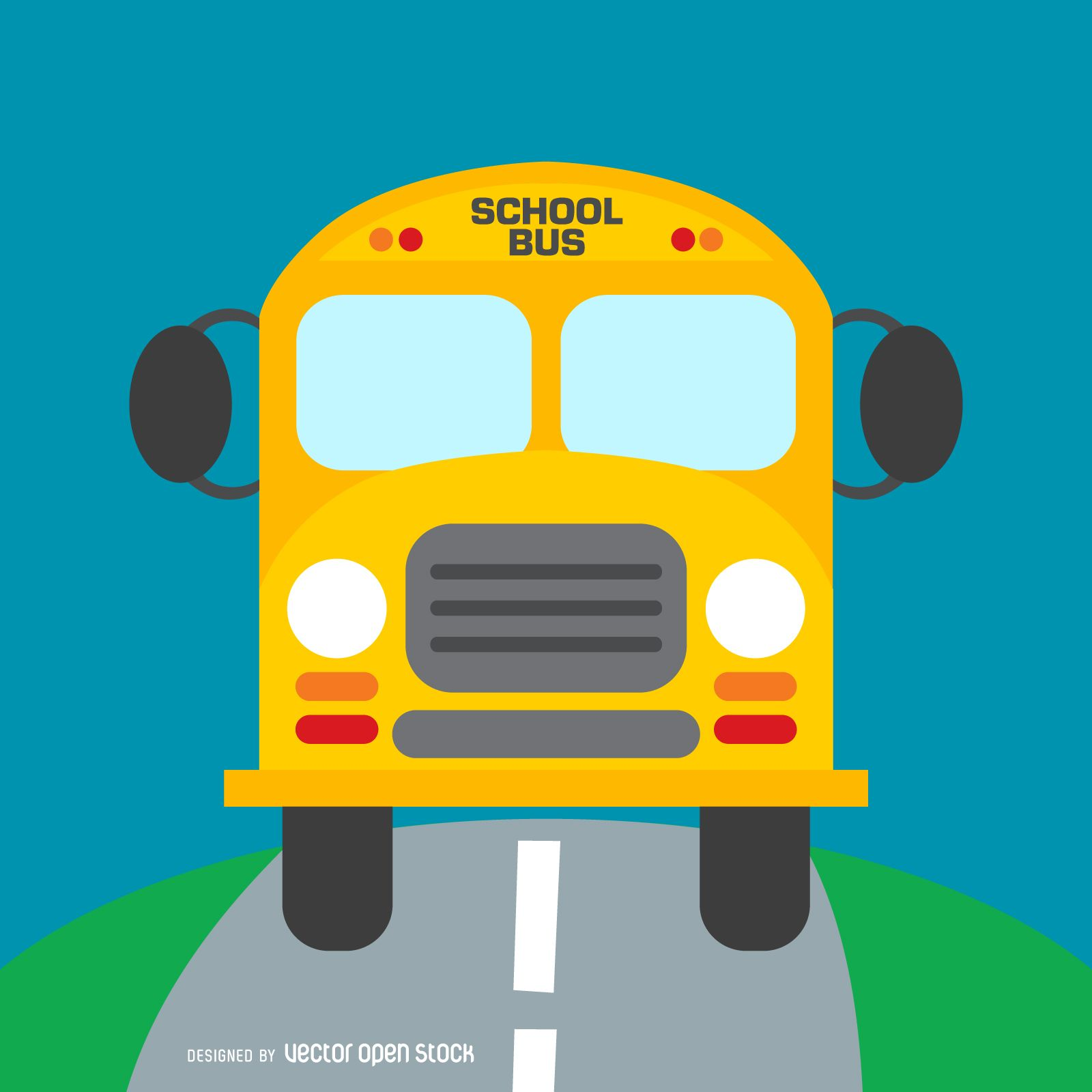 Illustrated Yellow School Bus On A Road Cartoon With A Sign That