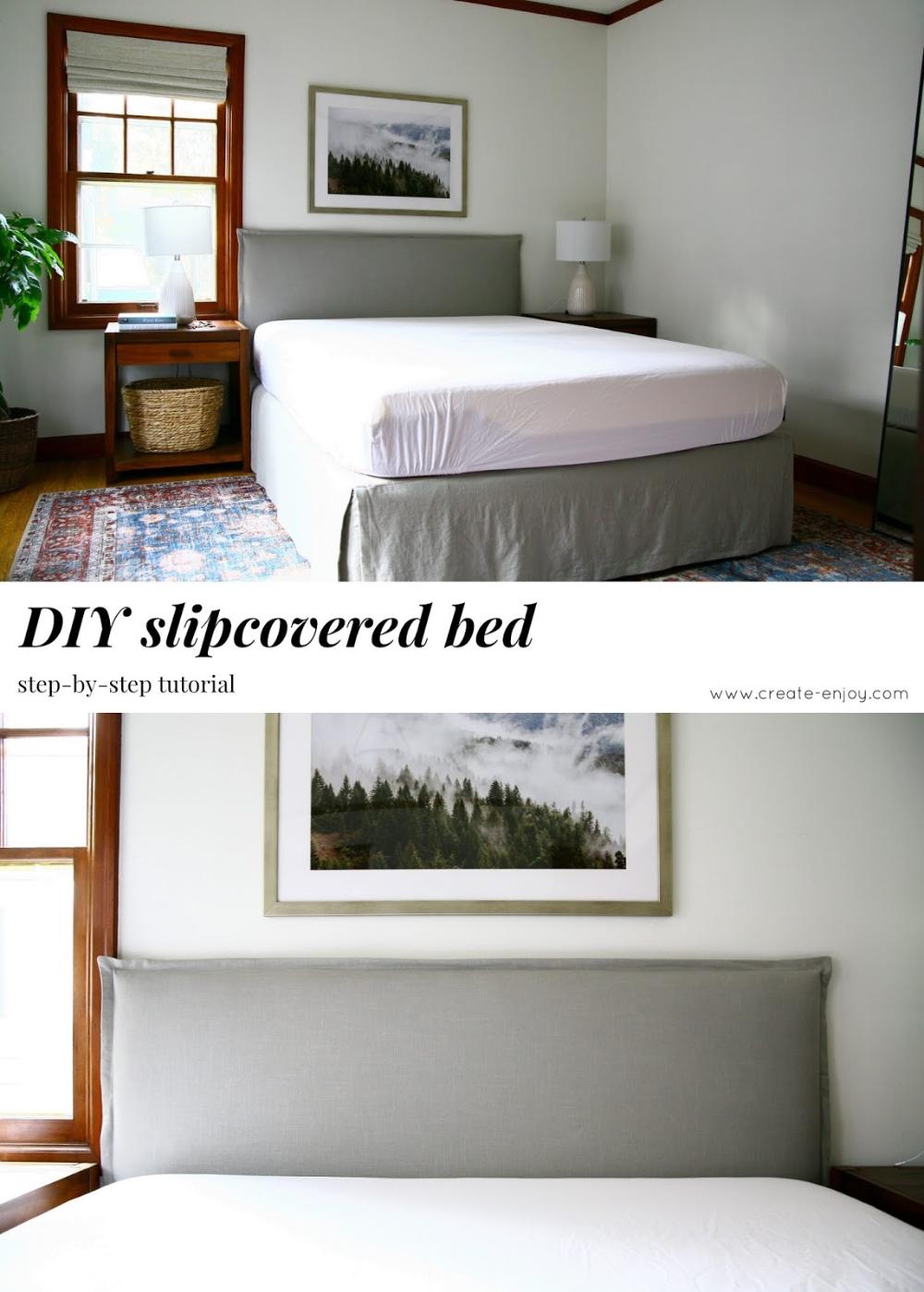 DIY upholstered & slipcovered bed tutorial | Diy apartment ...