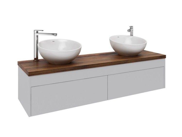 Encimera De Madera Para Baño | Lavabos Redondos Blancos Con Encimera De Madera Mueble De Bano