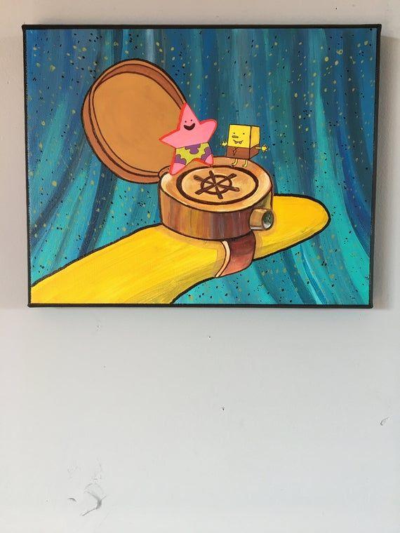 Spongebob And Patrick Best Friends Forever Ring Spongebob Painting Spongebob Painting Mini Canvas Art Cute Canvas Paintings
