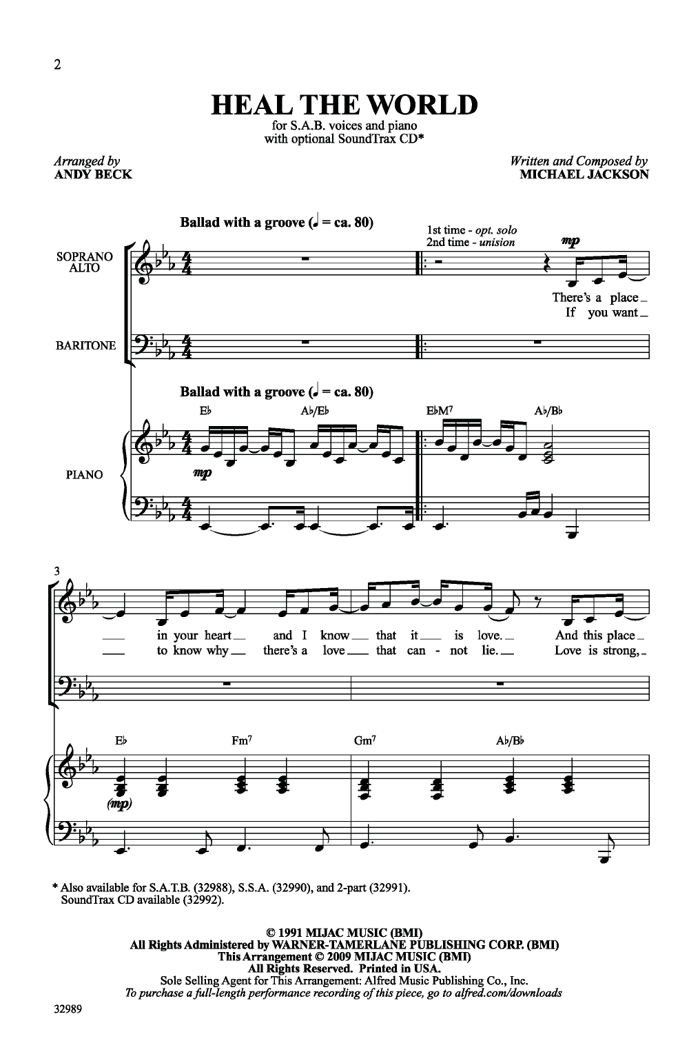 Heal the World (SAB ) by Michael Jackson/arr | J W  Pepper