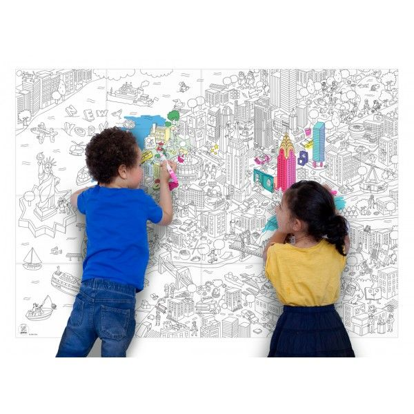 Poster Coloriage Geant New York Omy Monjolishop Http Www
