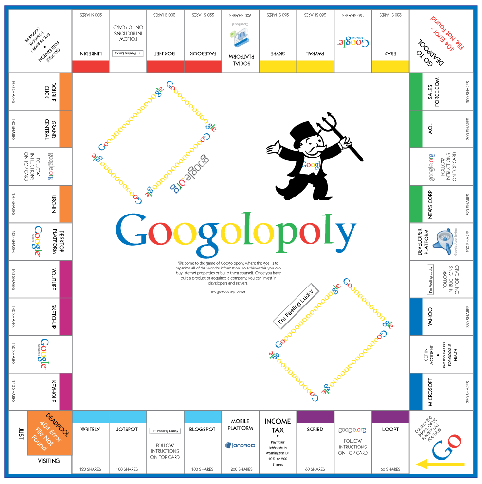 Print Your Own Google Monopoly Board Game | Social Media Tools ...