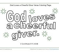 God Loves a Cheerful Giver Coloring Page Sunday school School and