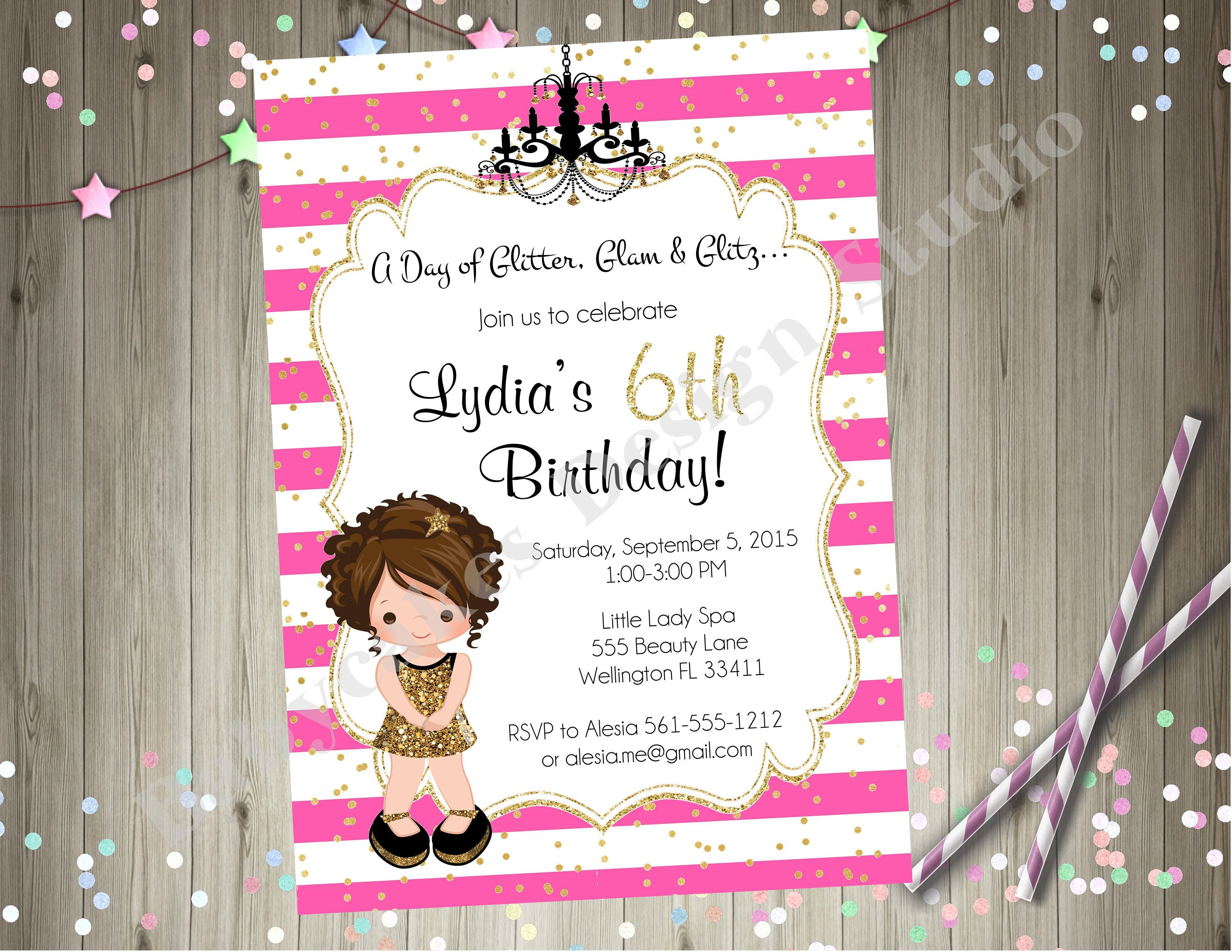 Hot Pink and Gold Dress Up Glamour Party Invitation Invite Diva ...