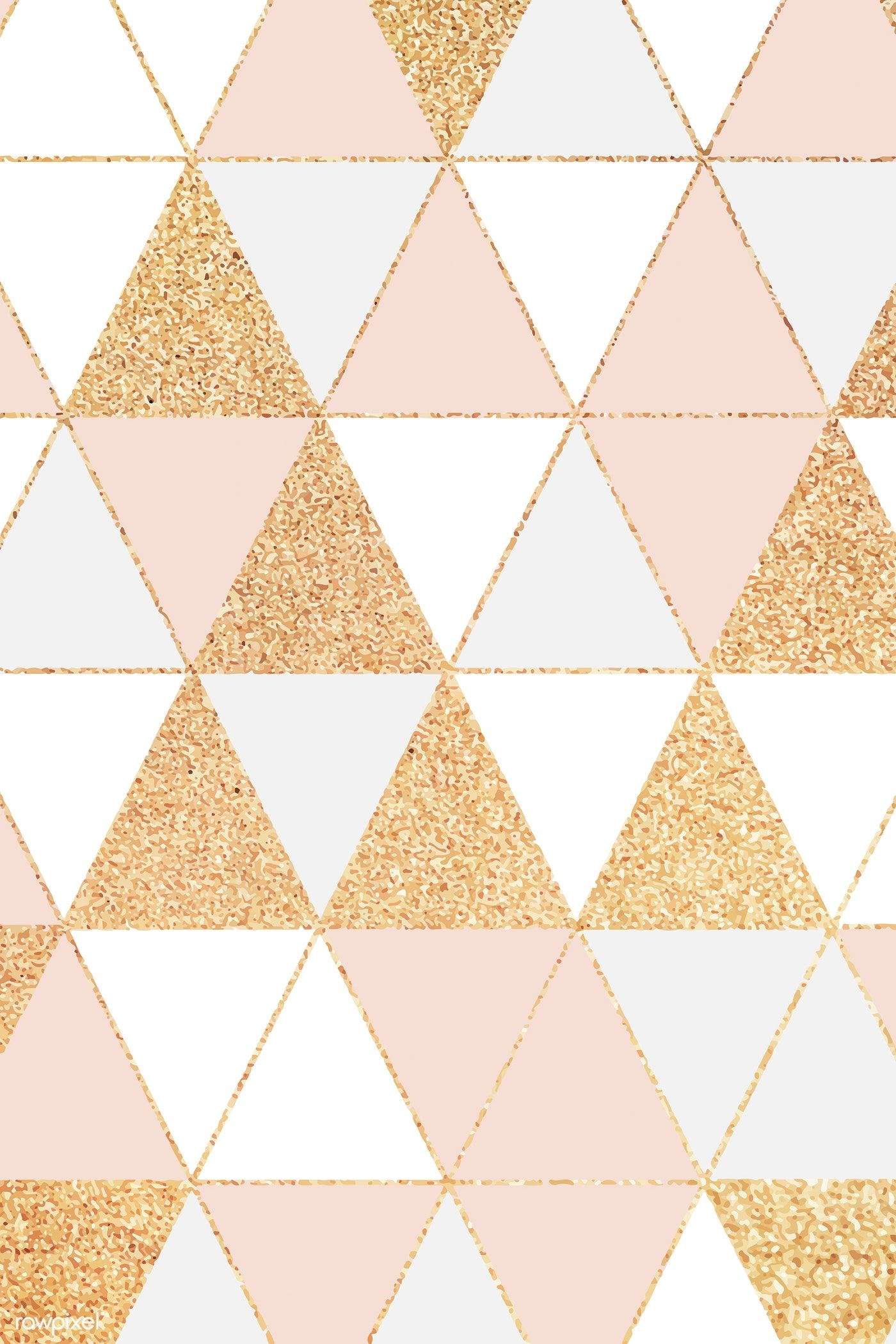 Download Premium Vector Of Pink And Gold Triangle Glitter Pattern Pink And Gold Wallpaper Gold Wallpaper Background Geometric Wallpaper Iphone