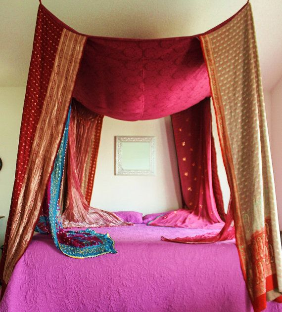 Moroccan Bed Canopy handmade silk bed canopy / vintage bohemian moroccan gypsy décor