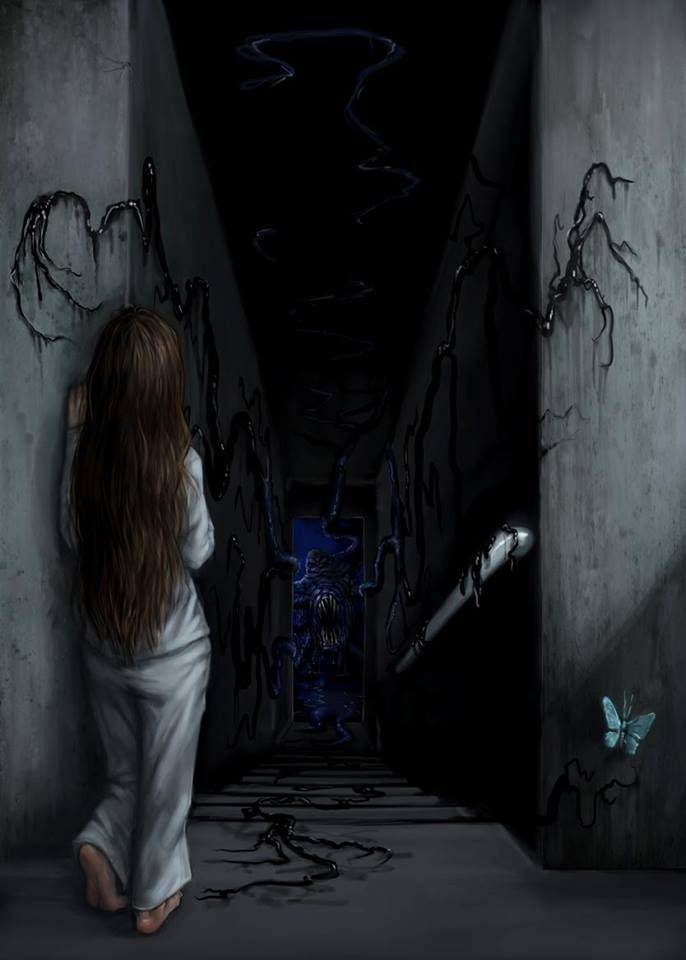 Hallway girl stairs butterfly basement creepy cool monster