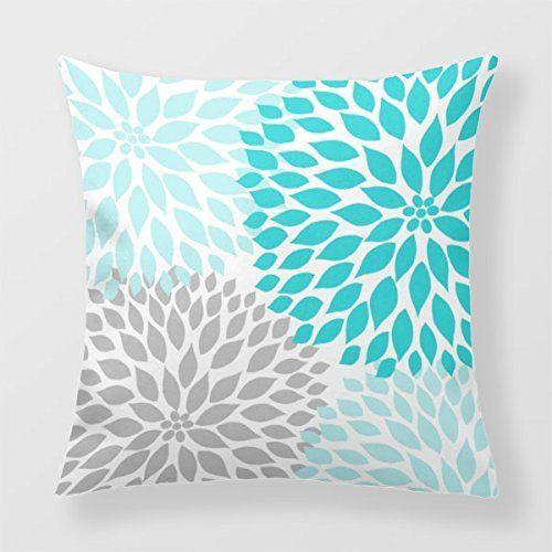 yourway couvre lit d coratif coussin bleu turquoise gris dahlia mod decor canap. Black Bedroom Furniture Sets. Home Design Ideas