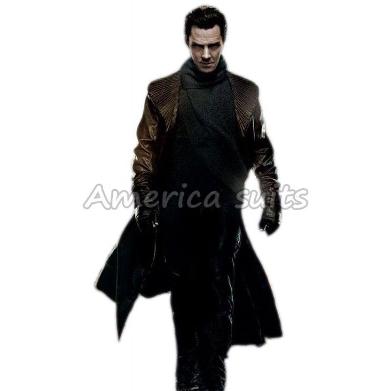 Star Trek Into Darkness Cosplay Khan Costume Leather Black Coat Jacket Halloween