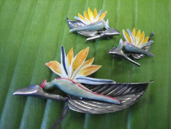 Ming S Of Honolulu Hawaii Bird Of Paradise Pin And By Alohacruz 1200 00 Hawaii Jewelry Honolulu Hawaii Aloha Hawaii