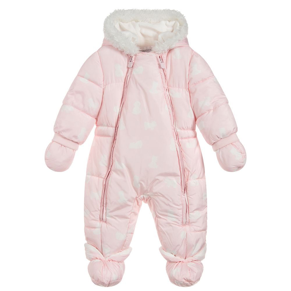 71d98d6ff Pink Polar Bear Snowsuit for Girl by Mayoral Newborn. Discover more  beautiful designer Snowsuits for kids online