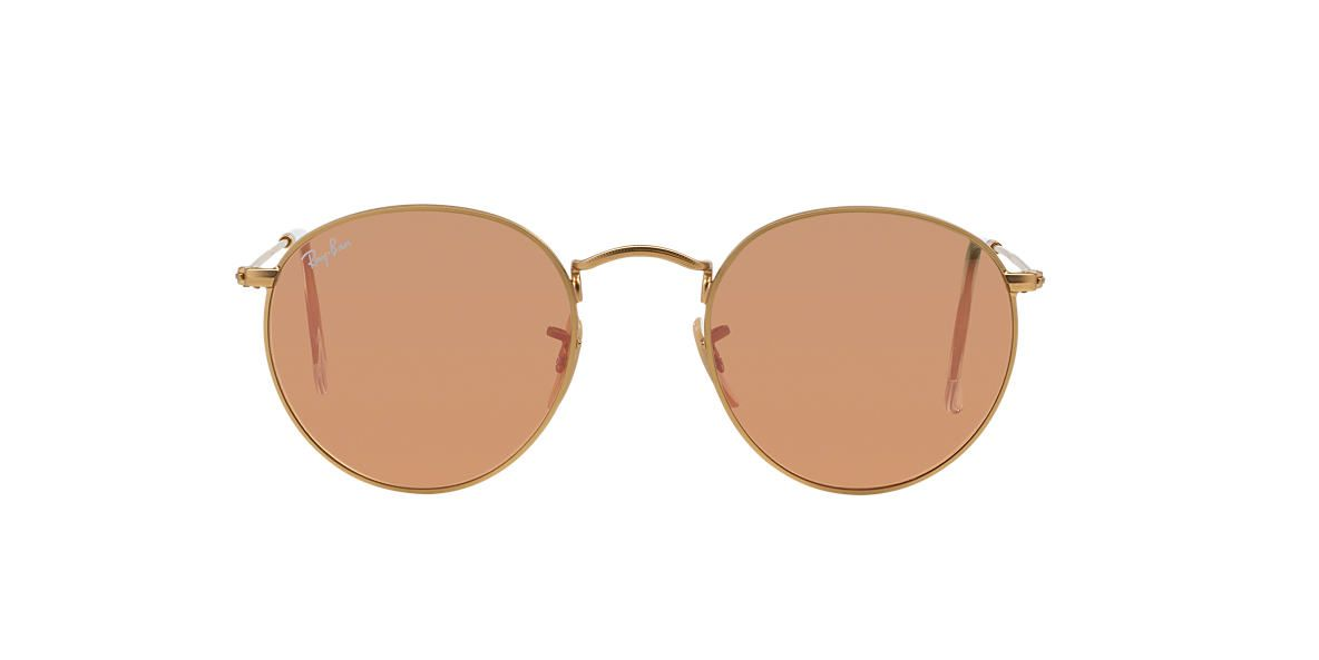 11e58c3c940a4 RAY-BAN Gold Matte RB3447 50 ROUND METAL Pink lenses 50mm   les yeux ...