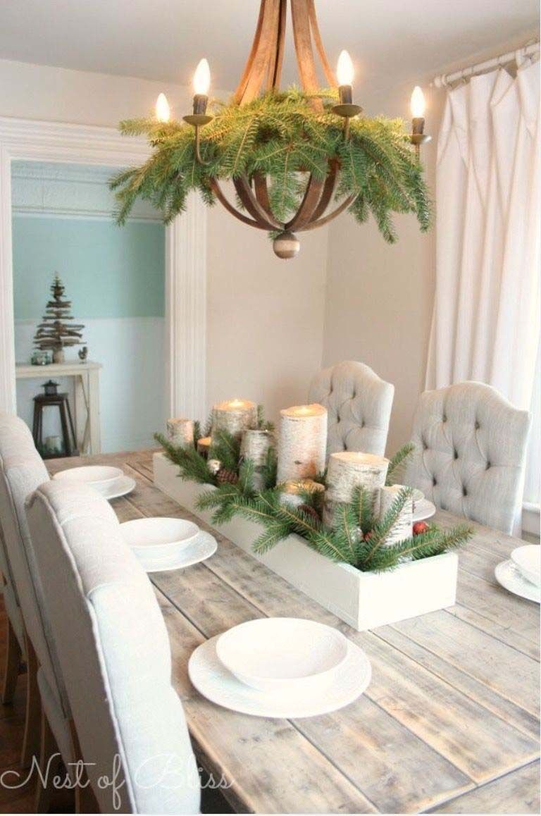 36 Gorgeous Christmas Decorated Chandeliers For Holiday Sparkle In 2020 Dining Room Table Centerpieces Dining Room Table Decor Christmas Dining Table